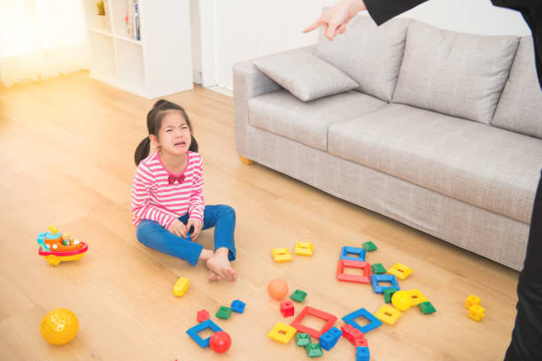 woman back from office feel angry woman back from office feel angry kids cleaning up toys stock pictures, royalty-free photos & images