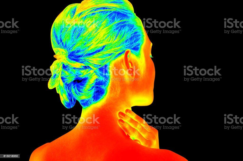 woman back shot like a thermography stock photo