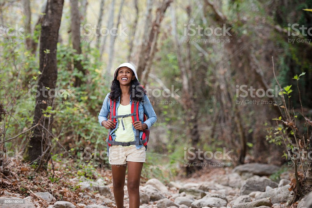 Woman backpacker traveling in forest. stock photo