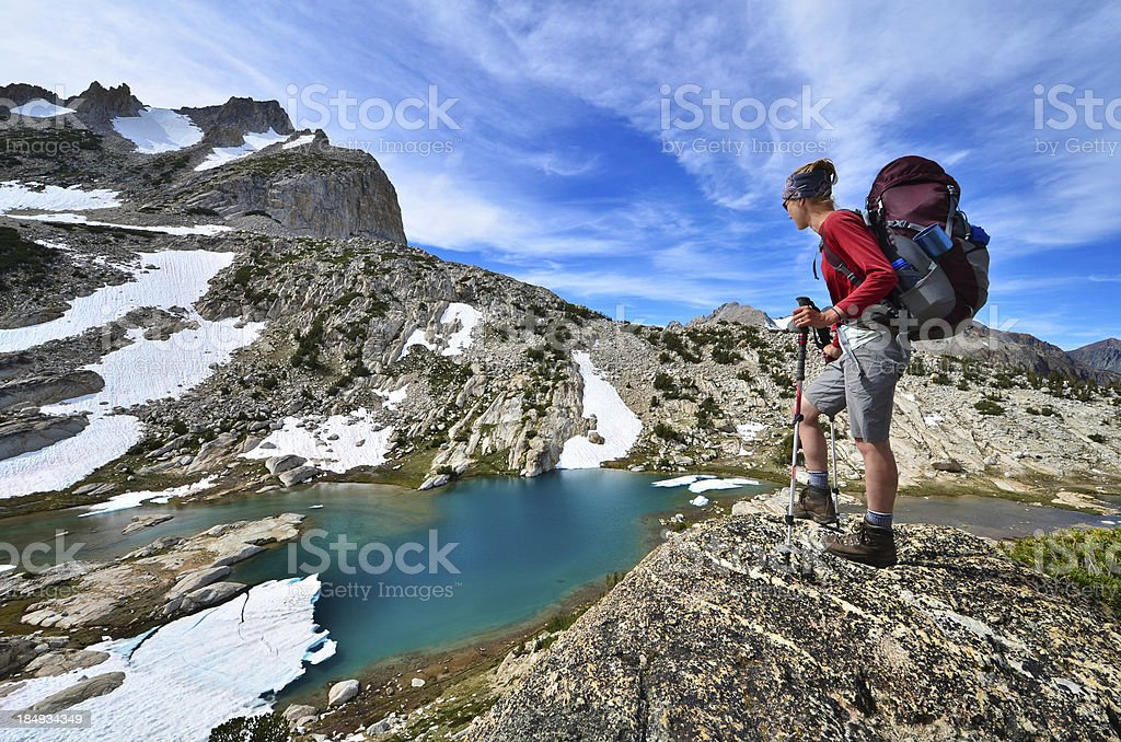 Woman Backpacking stock photo