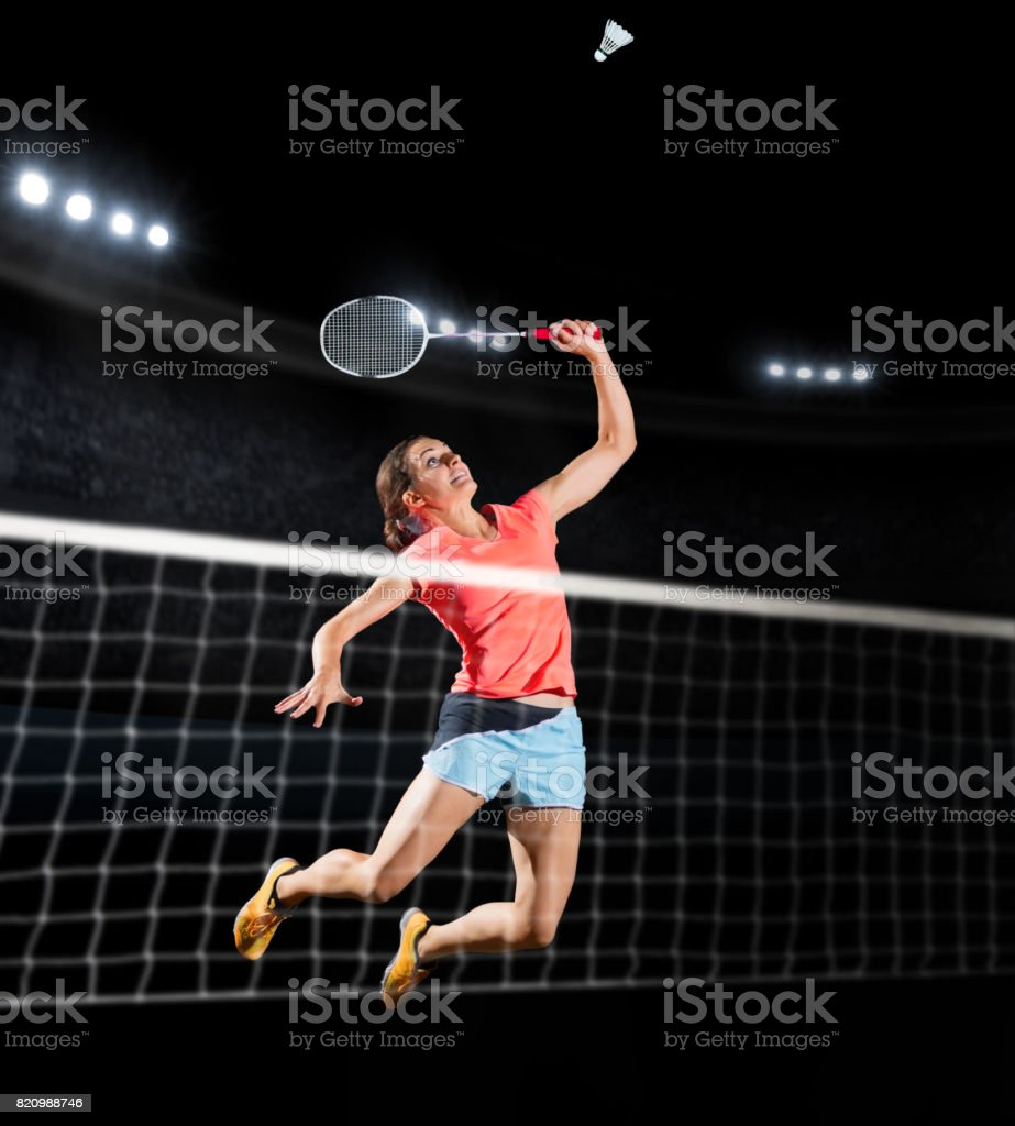 Woman badminton player isolated (sports hall version) – zdjęcie
