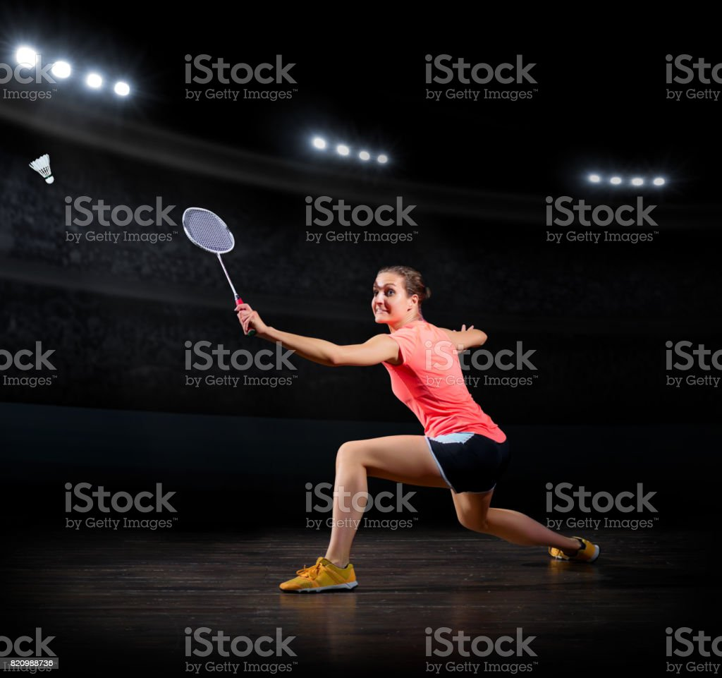 Woman badminton player (sports hall version) stock photo