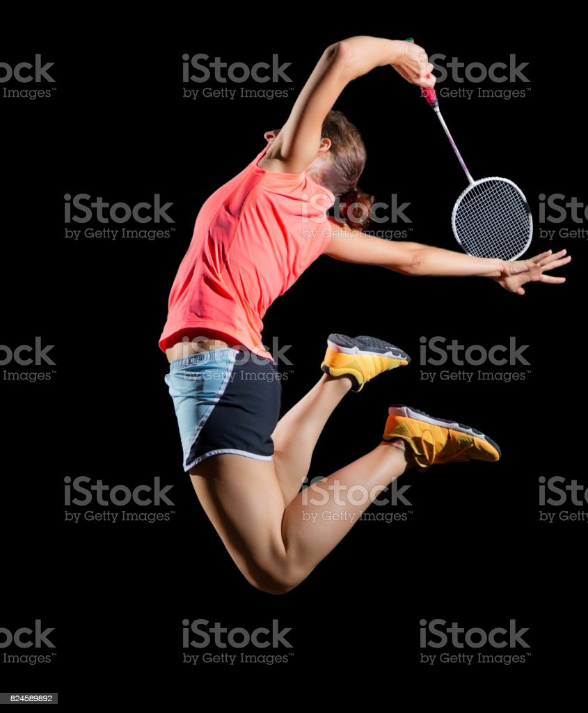 Woman badminton player (version without shuttlecock) stock photo