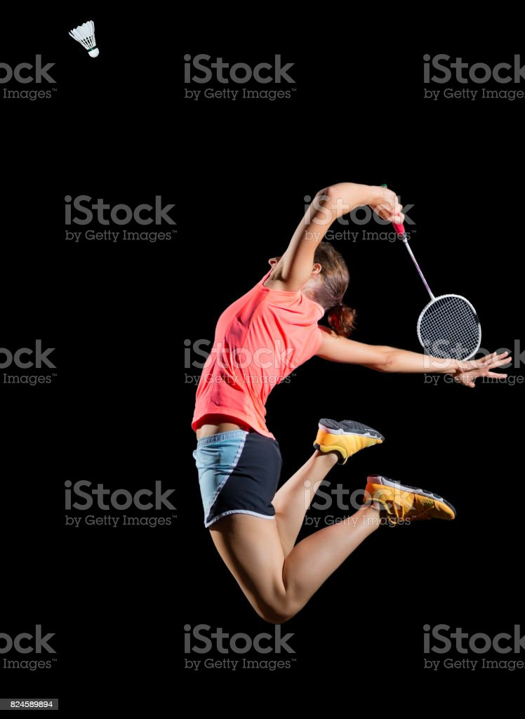Woman badminton player (version with shuttlecock) stock photo