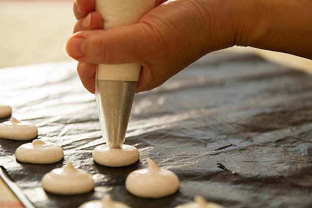 woman baking in home stock photo