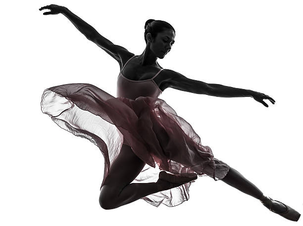 woman ballerina ballet dancer dancing silhouette stock photo
