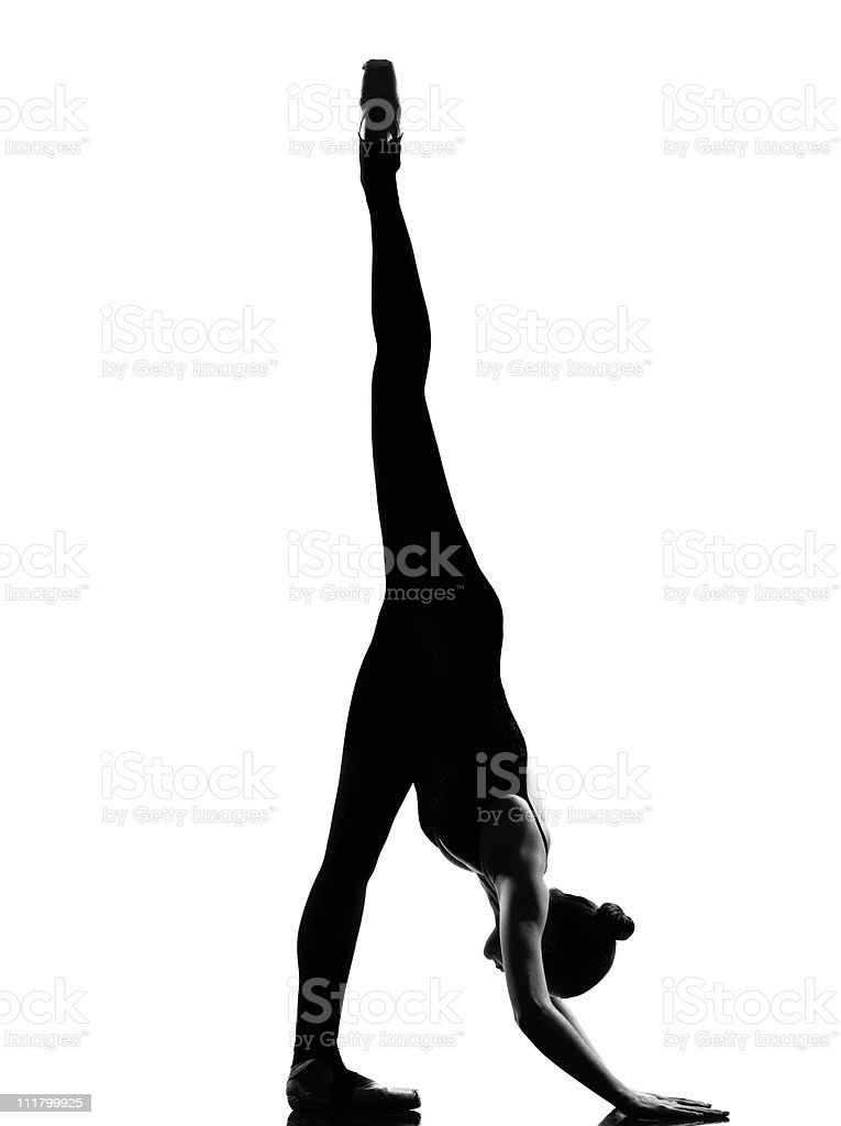 woman ballet dancer ballerina exercising splits stretching warming up royalty-free stock photo