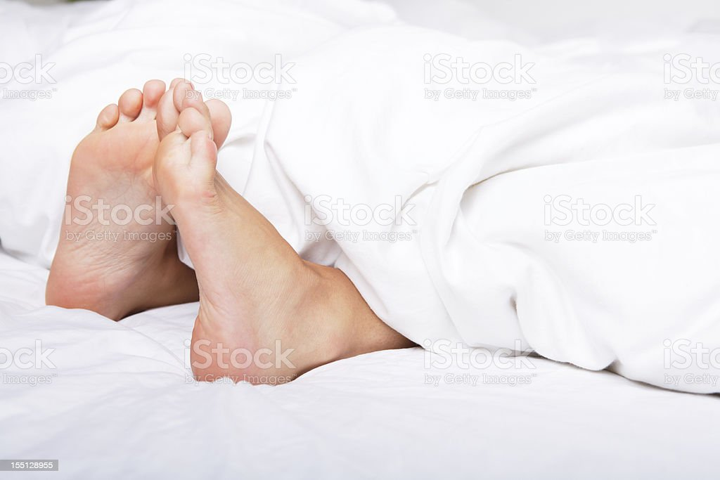 Woman Bare Feet Under Blanket Royalty Free Stock P O