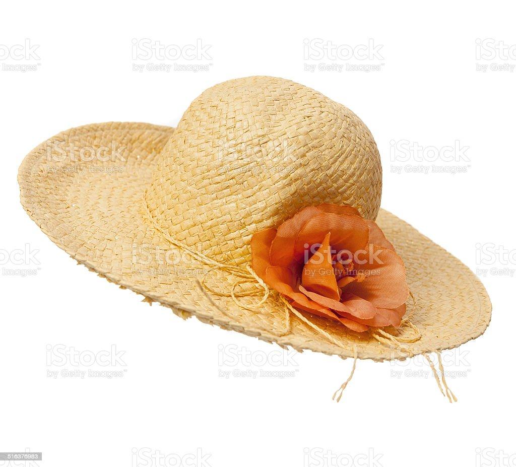 Woman beach straw hat stock photo