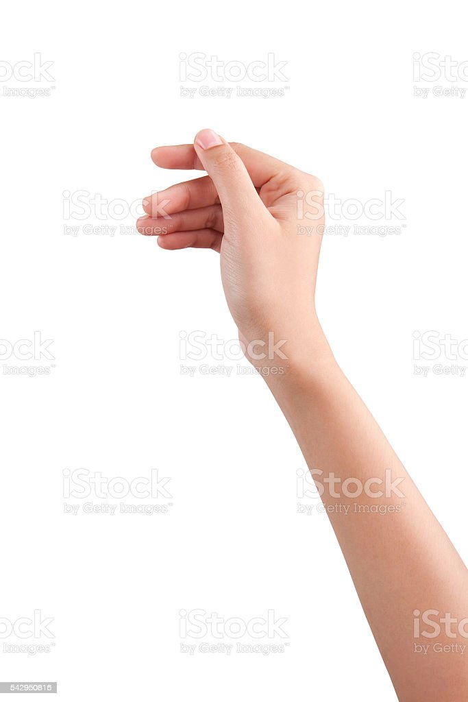 Woman beautiful hand holding some like a blank card isolated stock photo