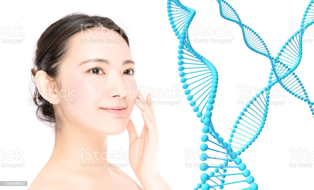 Woman beauty and gene therapy concept. stock photo