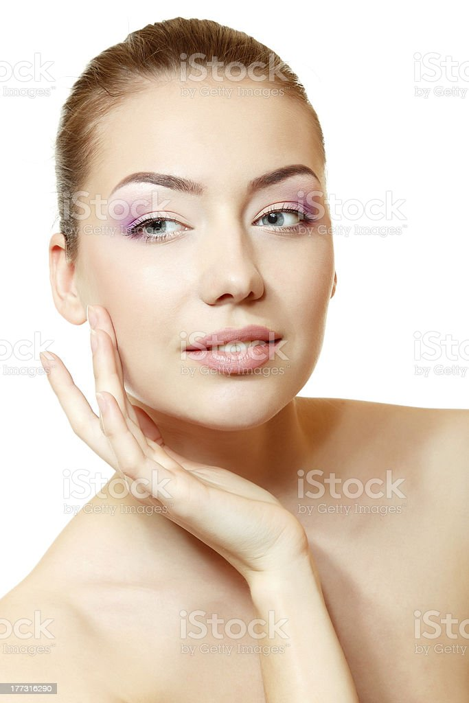 Woman beauty face closeup stock photo