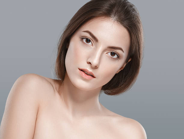 woman beauty face portrait with healthy skin - naked women with animals stock photos and pictures