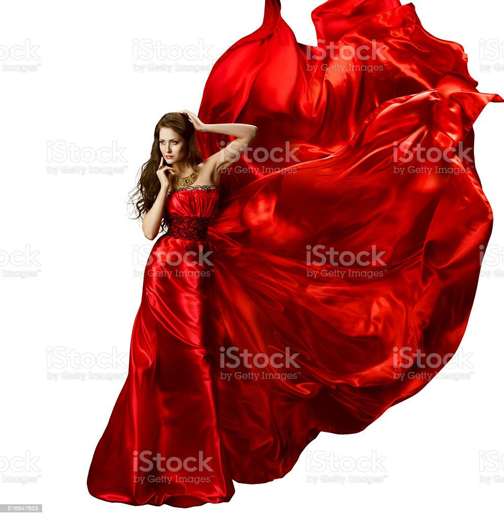 Woman Beauty Fashion Dress, Red Elegant Silk Gown Waving Fabric stock photo