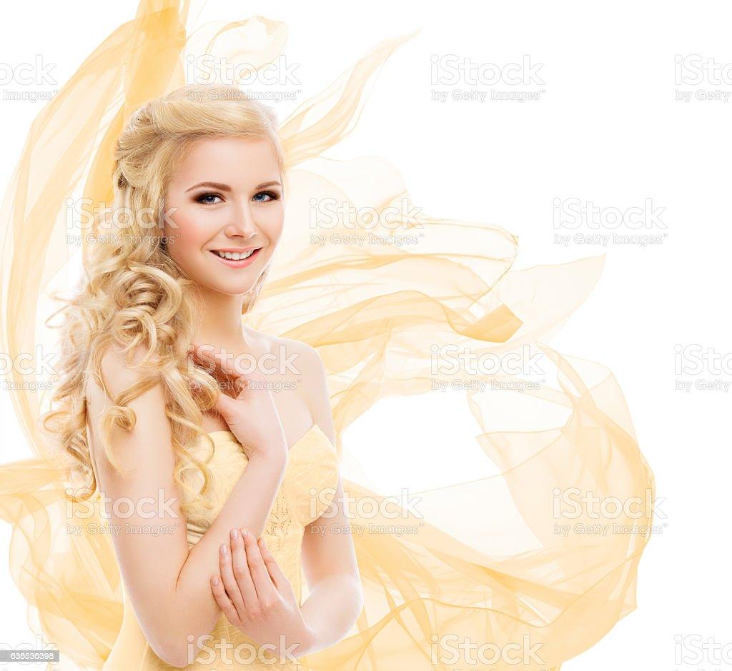 Woman Beauty, Fashion Model Portrait, Blond Hair Long Curls, Yellow stock photo