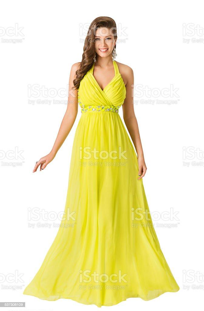 Woman Beauty Long Fashion Dress, Elegant Girl Yellow Summer Gown stock photo