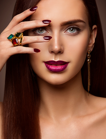 woman beauty makeup nails lips eyes model covering face