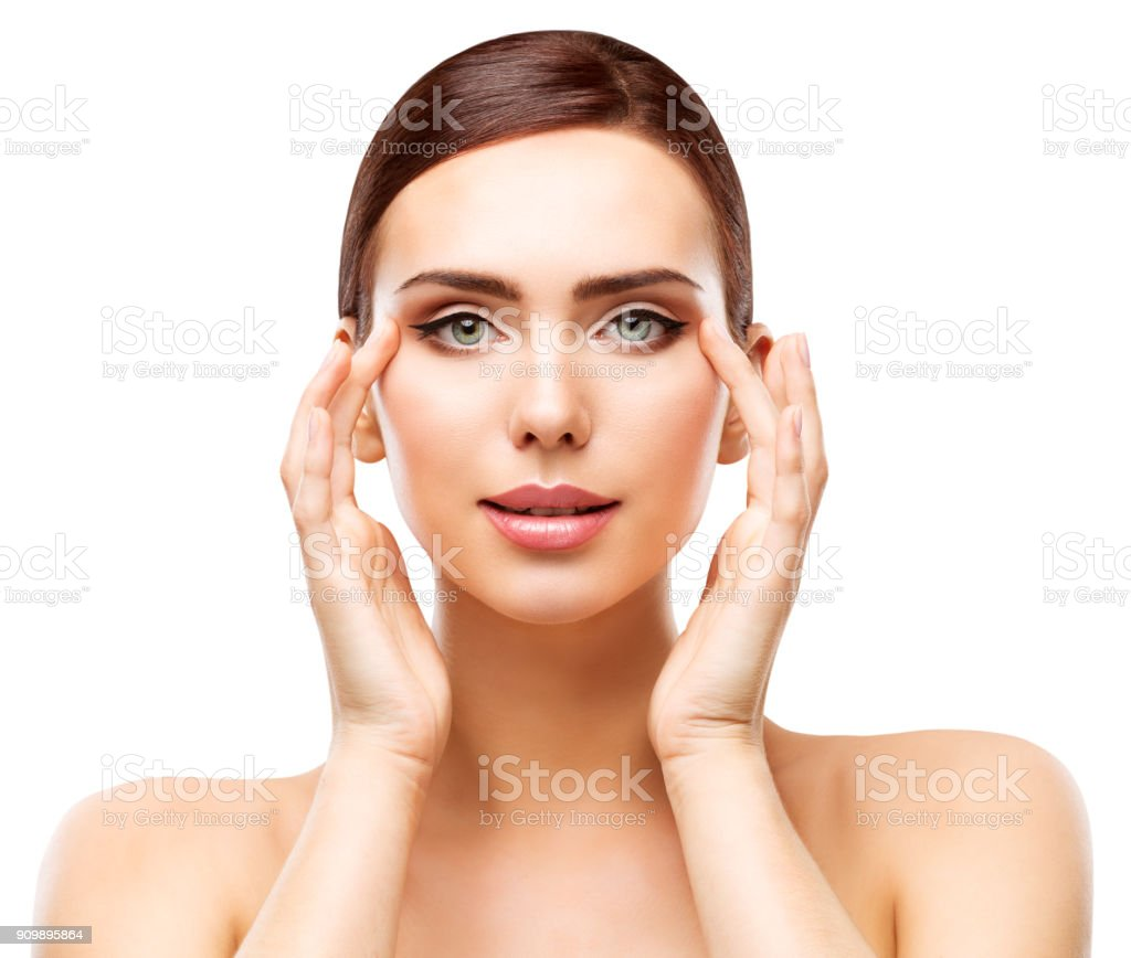 Woman Beauty Portrait, Model Natural Makeup and Face Skin Care, Young Girl Apply Moisturizing Cosmetic stock photo