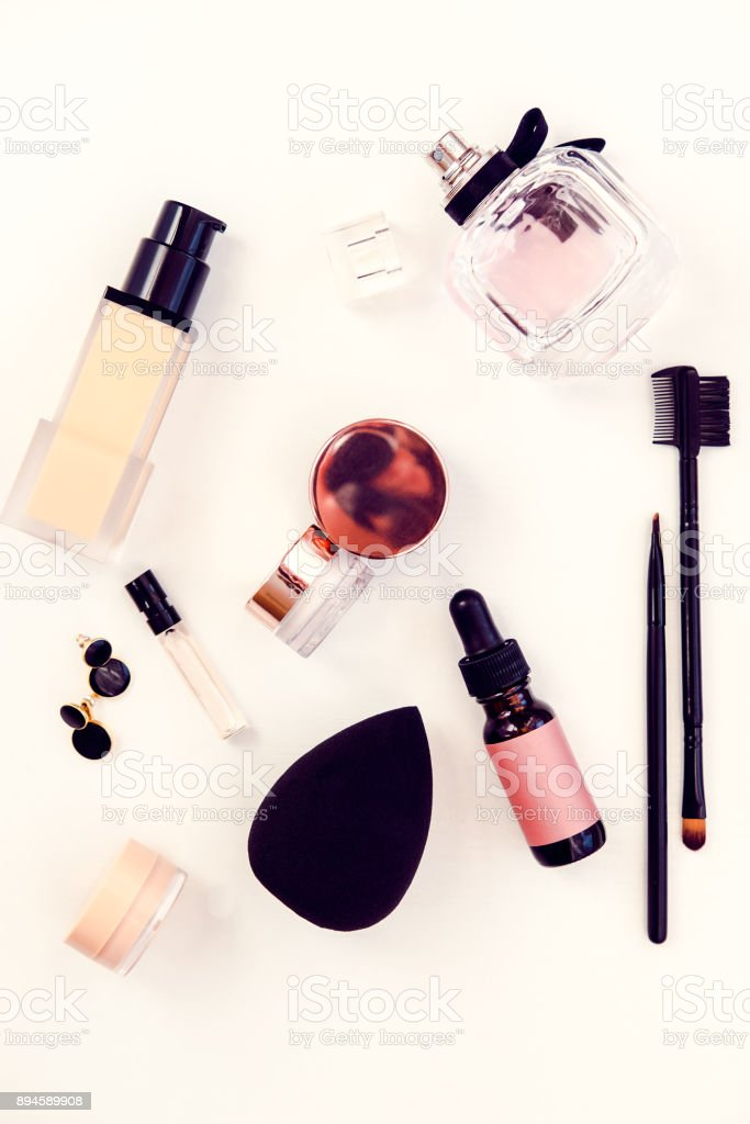 Woman beauty products flat lay on white stock photo