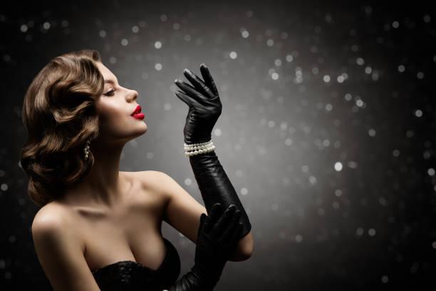 Woman Beauty Retro Hair Style, Fashion Model Make Up Hairstyle, Elegant Lady stock photo