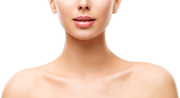 Woman Beauty Skin Care, Model Face Lips Neck and Shoulders on White stock photo