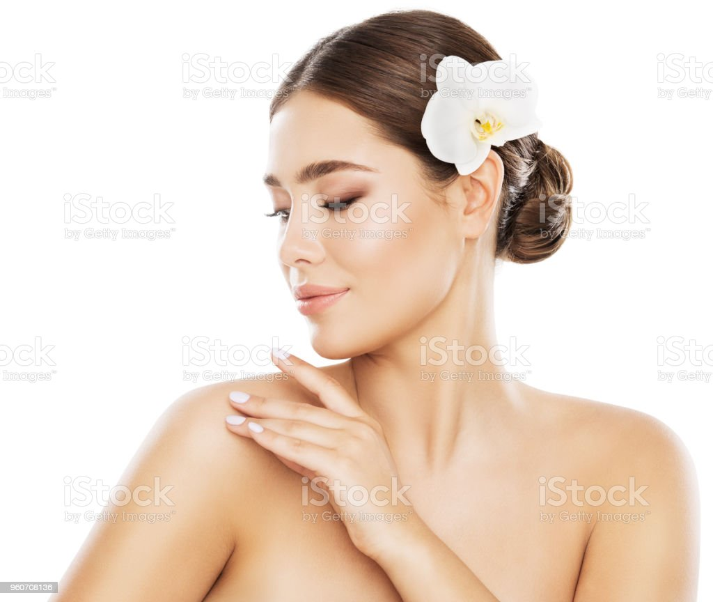 Woman Beauty Skin Care Model Touch Shoulder By Hand Orchid Flower In