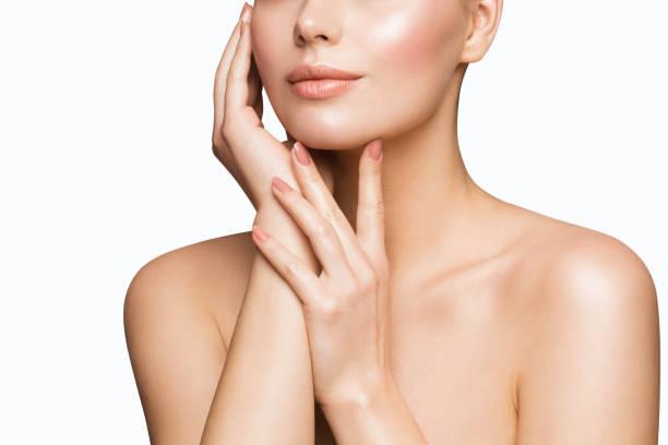 Woman Beauty Skin Care, Model Touching Face, Beautiful Girl Lips Nails Treatment stock photo