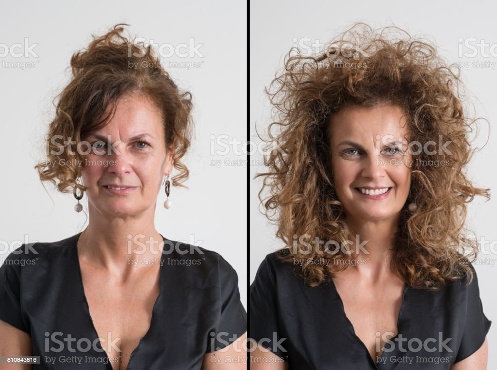 Woman before and after airbrush makeup and hairdressing stock photo