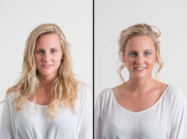 frau vor und nach airbrush make-up und friseur - airbrush make up stock-fotos und bilder