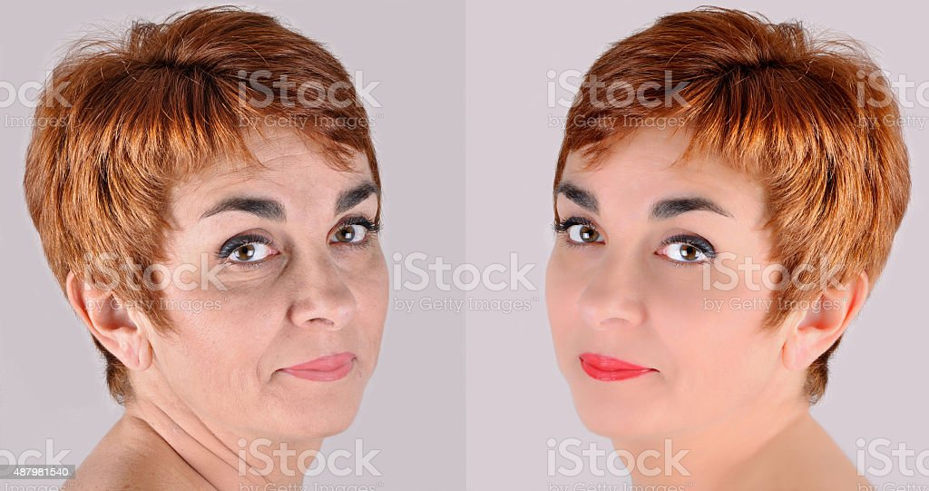 Woman before and after applying make-up and computer retouching stock photo