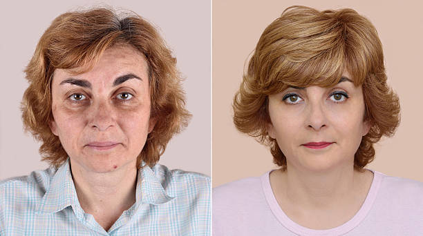 woman before and after applying make-up and hairstyling - haar transformation stock-fotos und bilder
