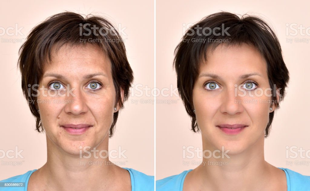Woman before and after applying make-up stock photo