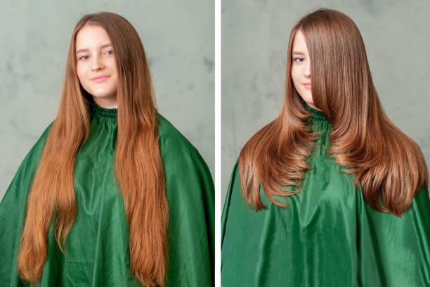 vrouw voor en na kapsel en make-up. - hair grow cyclus stockfoto's en -beelden