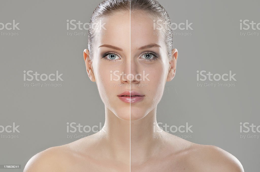 A woman before and after retouching stock photo