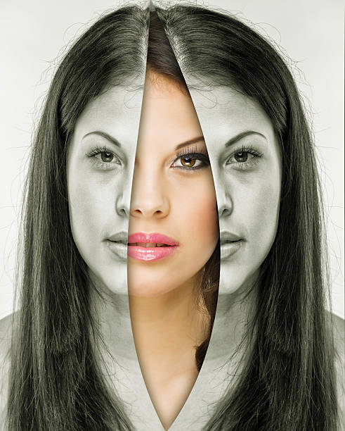 Woman behind the mask before and after makeup stock photo