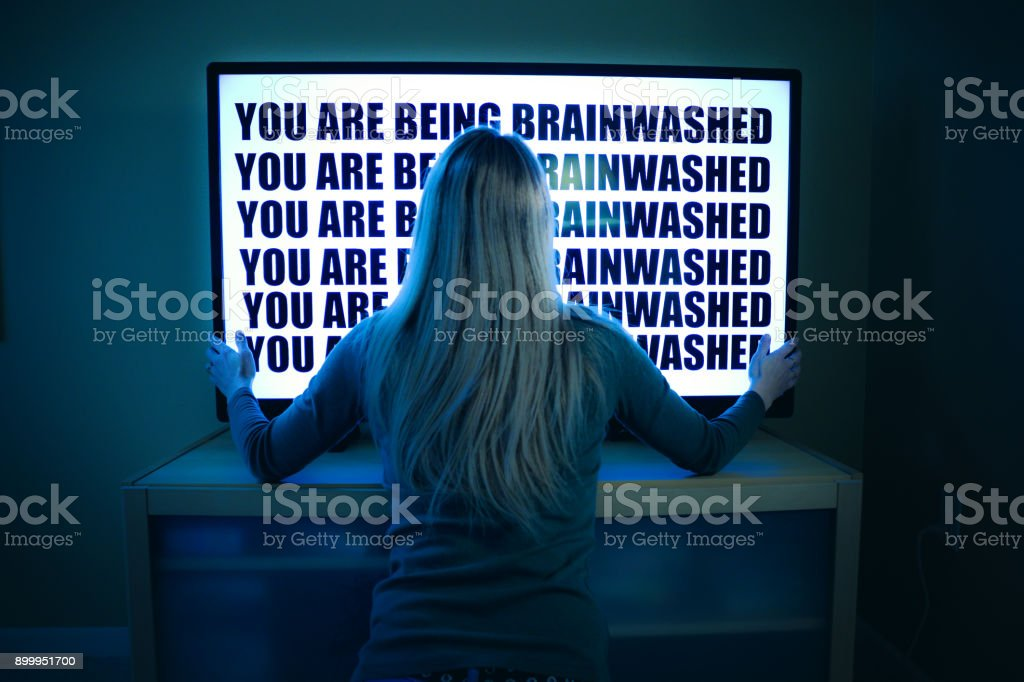Woman Being Brainwashed By Television