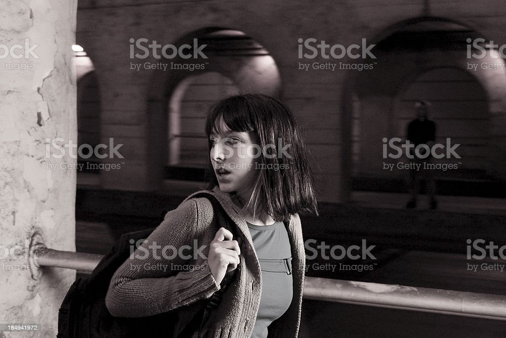 Woman being Watched stock photo