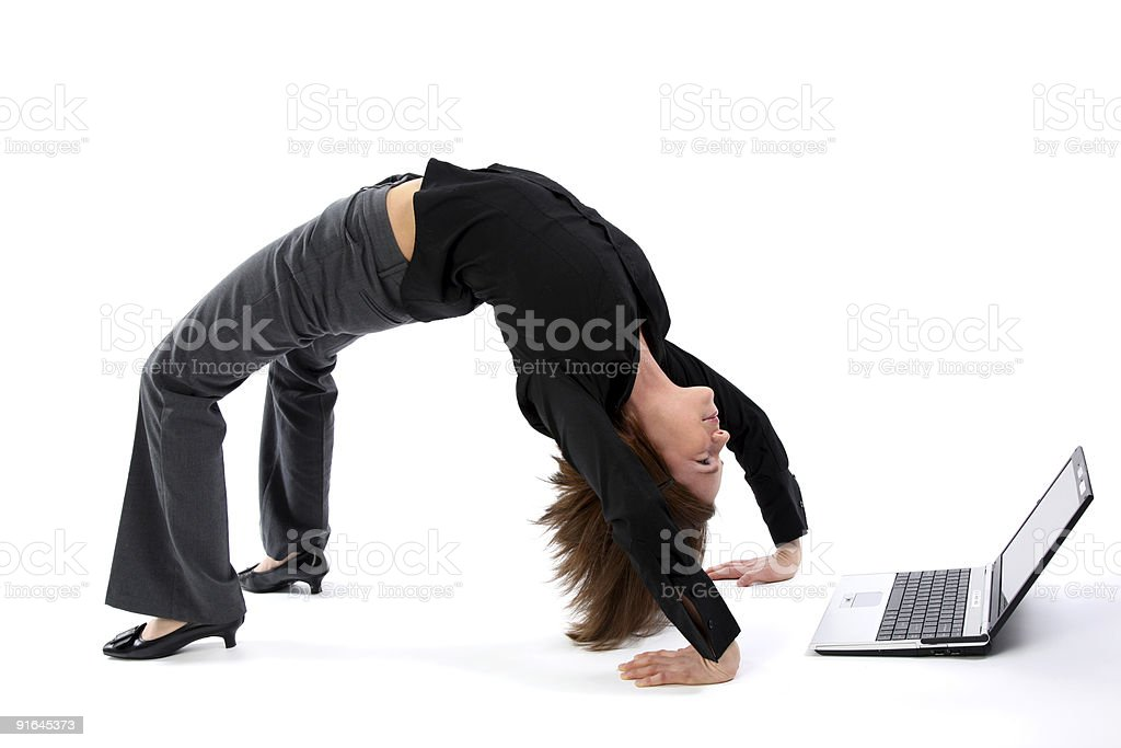 Woman bending over backwards royalty-free stock photo