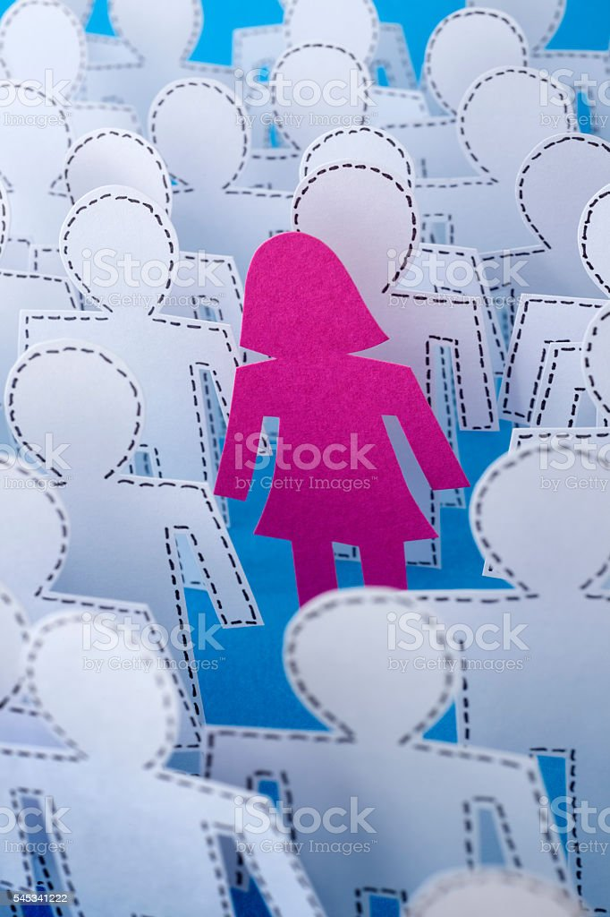 Woman between missing men stock photo