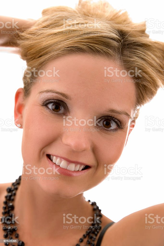 Woman / big smile stock photo
