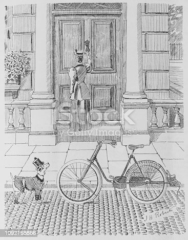 A woman has parked her bike at the kerb, and a small dog eyes it up. Should he..?  Image taken from an 1896 issue of Punch Magazine
