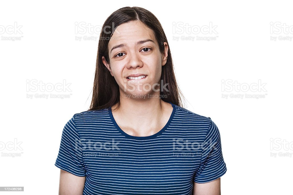 Woman Biting Lip royalty-free stock photo