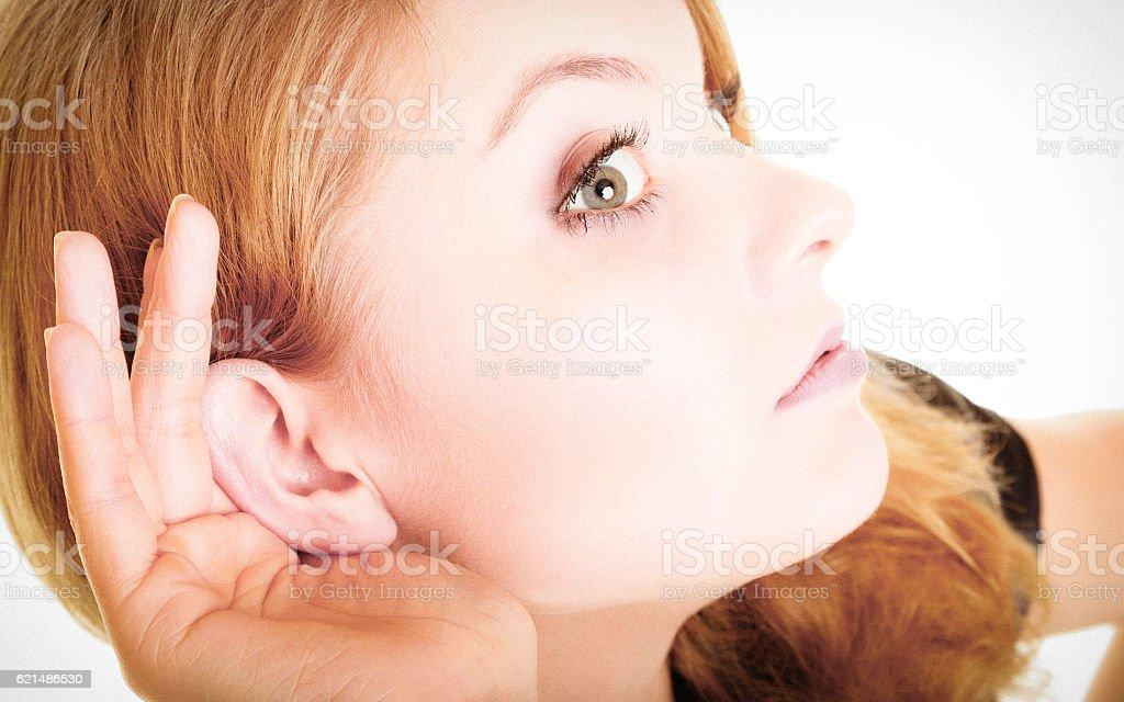 Frau blonde buisnesswoman Zuhören auf Weiß Lizenzfreies stock-foto