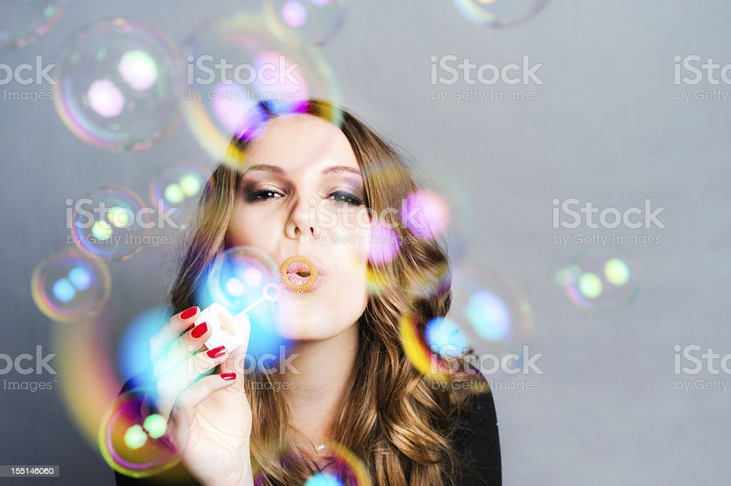 Woman Blow Bubbles royalty-free stock photo