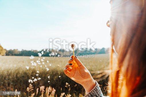 istock Woman blowing a dandelion flower in summer 1248721256