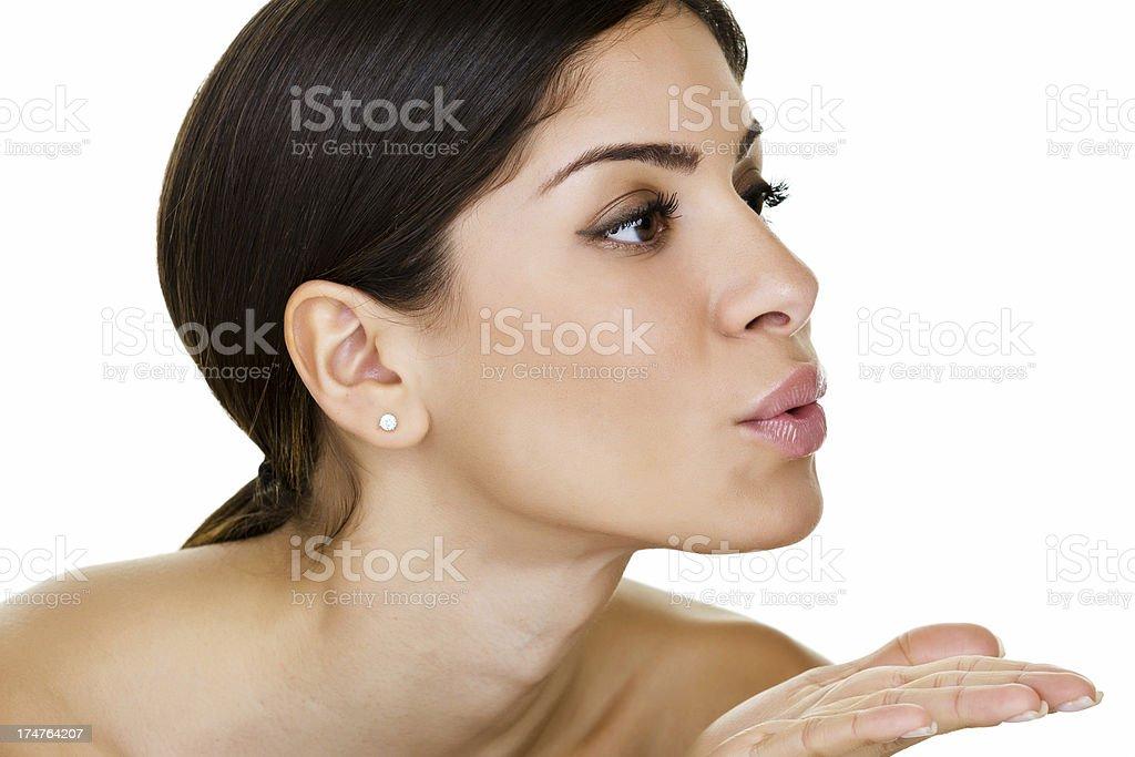 Mujer enviar un beso - foto de stock