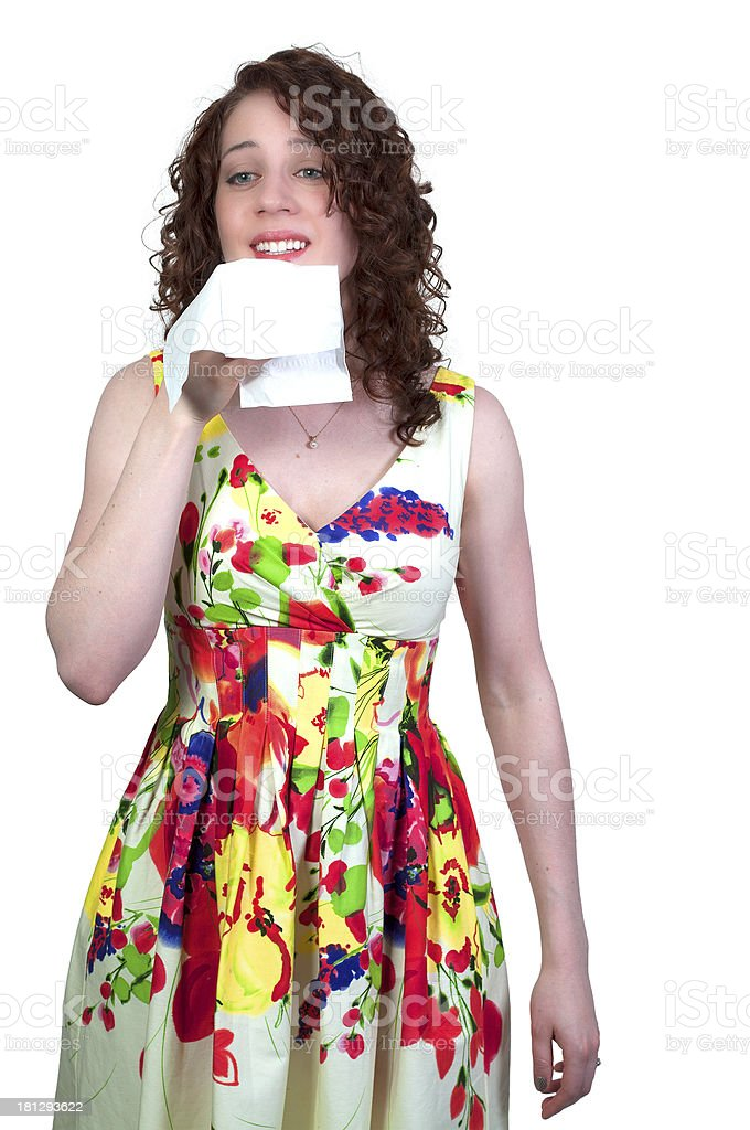 Woman Blowing Her Nose royalty-free stock photo