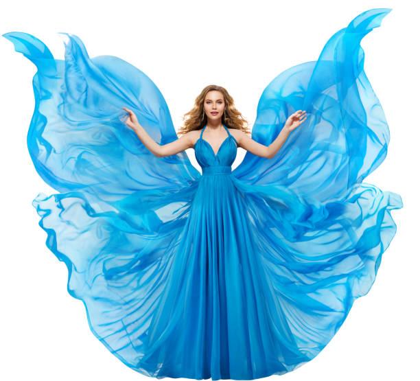 frau blau kleid, mode-modell in langen wehenden kleid wie schmetterlingsflügel, flatternden stoff fliegen - abendkleid lang blau stock-fotos und bilder