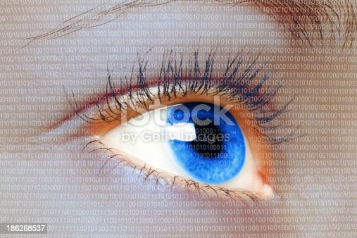 510584002istockphoto Woman blue eye looking on digital virtual screen 186268537