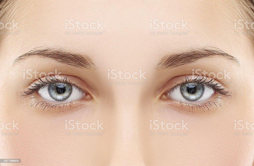 Woman blue eye stock photo